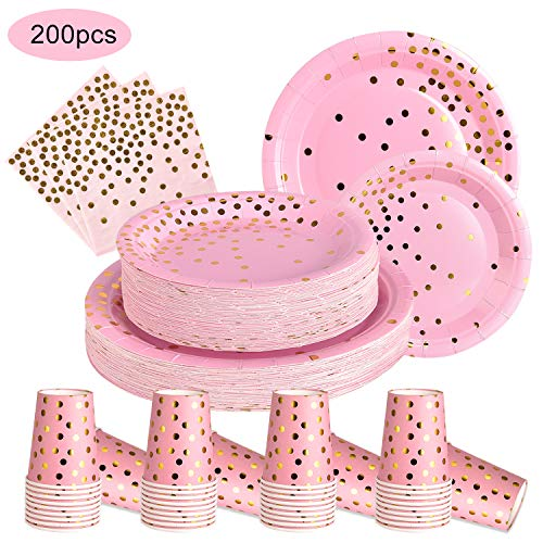 200PCS Pink and Gold Party Supplies Disposable Paper Plates and Napkins Cups Sets for Baby Shower Birthday Party…