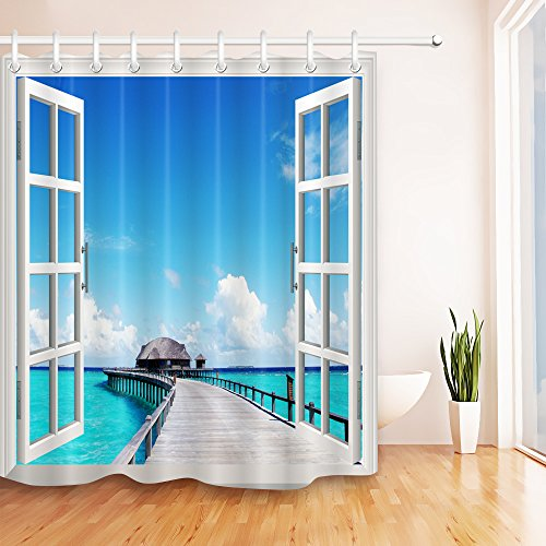 LB Seaside Pier Ocean Scenery Realistic View from Window Shower Curtain Set for Bathrooms, Coastal Theme Decor for Restroom, 70x70 Inch Shower Window Curtain Waterproof Mold ()