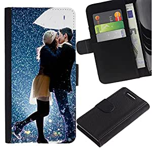 For Sony Xperia Z1 Compact / Z1 Mini / D5503,S-type® Kiss Sweet Couple Snow Romantic - Dibujo PU billetera de cuero Funda Case Caso de la piel de la bolsa protectora