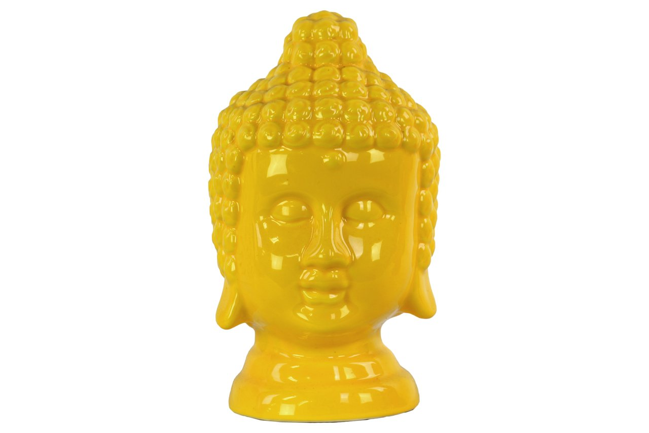 Urban Trends Ceramic Buddha Head, Yellow