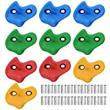 KUWAN Kids Climbing Stones Holds & Grips- Bolt on for Climbing Frame,Rock Walls and Tree Houses-10PCS