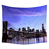 Wall Hanging Tapestry new york city brooklyn bridge evening lights sky clouds Dorm Decor Tapestry Bedspread Bed Cover 60 X 80 Inches