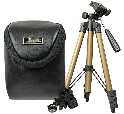 Progallio PROブラックレザーカメラケースセット、トラベル三脚ウルトラライト B00LKLC4Y8