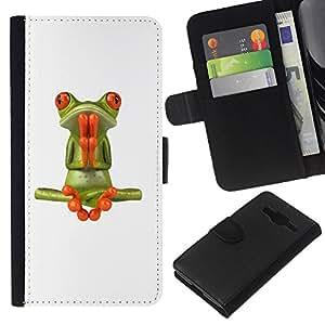 KLONGSHOP // Tirón de la caja Cartera de cuero con ranuras para tarjetas - Rana Oración Meditación Yoga Blanca - Samsung Galaxy Core Prime //