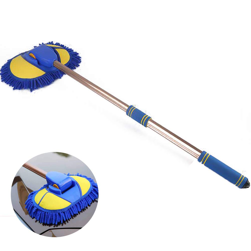 Microfiber Wash Mop Long Retractable,Rotating Wash Extendable Handle Adjustable Removal Mopping Glass Cleaning Multi-Functional,90degrees Free Rotation Not Hurt Paint Foaming Fast Length 97cm