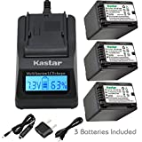 Kastar Fast Charger and Battery (3-Pack) for Panasonic VW-VBT380 and HC-V110 V130 V160 V180 HC-V201 V210 V250 HC-V380 HC-V510 V520 V550 HC-V710 V720 V750 V770 HC-VX870 HC-VX981 HC-W580 W850 HC-WXF991