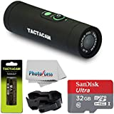 TACTACAM 4.0 With Flat Black Stabilizer + TACTACAM Rechargeable Battery + SanDisk Ultra 32GB microSDHC UHS-I Card with Adapter + Custom Gun Mount/Scope Mount + Cleaning Cloth - Full Accessory Bundle
