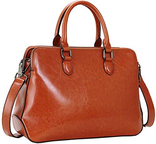 Heshe Leather Womens Handbags Totes Top Handle Shoulder Bag Satchel Ladies Purses (SBrown) (Double Handle Handbags)
