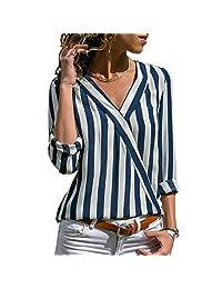 Starlit Fashion - Playera de manga larga, cuello en V, diseño de rayas de otoño, para mujer, Azul, Mediano