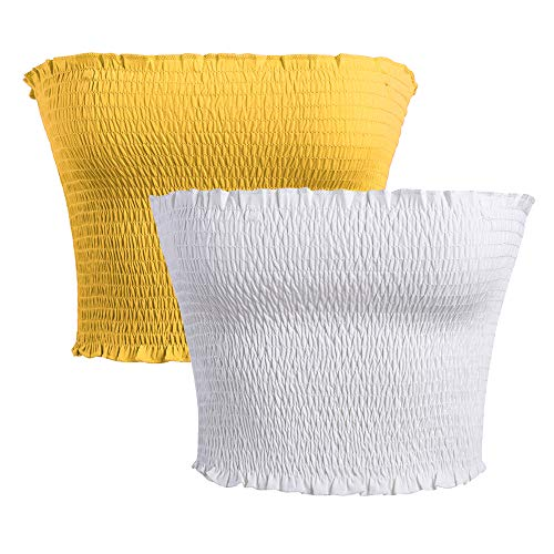 GATHY Women's Strapless Pleated Sexy Tube Crop Tops (Large/X-Large, White- Yellow) (Womens Tube Tops)