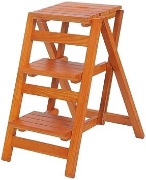 AINIYF Taburete con escalera Taburete con escalera interior de madera maciza Taburete con escalera plegable multifunción for interiores: Amazon.es: Bricolaje y herramientas