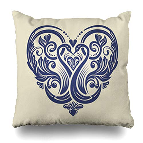 (Aika Designs Throw Pillows Covers Pillowcase Filigree Damask Victorian Ornate Heart Pattern Weddings Lace Abstract Vintage Locket Emblem Elegance Home Decor Zippered 16