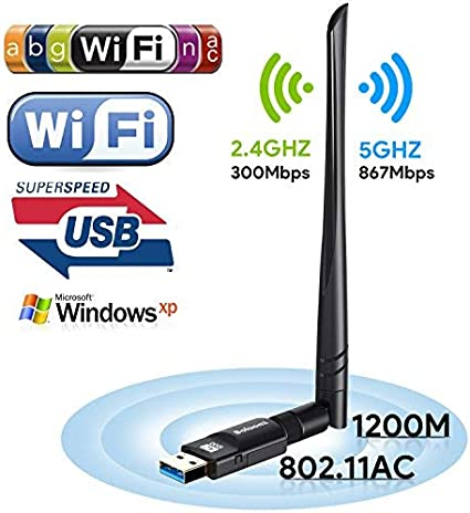 Boluomi USB 1200Mbps Wifi Adaptador 5dBi Antena Wifi USB Inalámbrico Dual Band (5GHz 866Mbps / 2.4GHz 300Mbps) Receptor Wifi Dongle Wifi para Windows ...