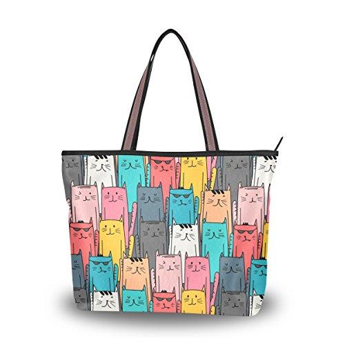 Tote Top Handle Laptop Shoulder Bag Funny Cat Doodle Art Handbag for Women - 15.7 x 11.4 x 3.5in - by Top - Sunglasses Wonderland Sale