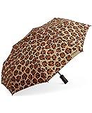Coach Folding Full-Size Umbrella Wild Beast Animal Leopard Print, Brown