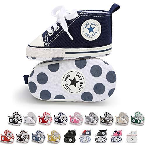 Tutoo Unisex Baby Boys Girls Star High Top Sneaker Soft Anti-Slip Sole Newborn Infant First Walkers Canvas Denim Shoes]()