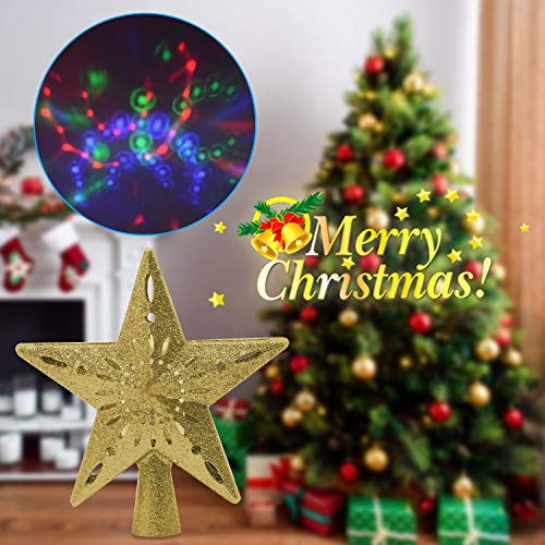 Yocuby Star Christmas Tree Topper Lighted with Built-in Rotating Magic Ball LED Treetop Projector for Crown Christmas Tree, Xmas/Holiday/Winter Home Wonderland Party Decoration Ornament (Nice Tree Xmas)