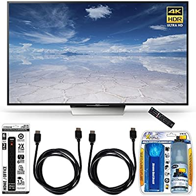 Sony XBR-55X850D 55-Inch Class 4K HDR Ultra HD TV Accessory Bundle includes TV, Screen Cleaning Kit, Power Strip with USB Ports and 2 HDMI to HDMI Cables