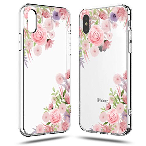 ls Women,Pink Flowers Floral Blooms Purple Green Leaves Trendy Simple Elegant Spring Summer Tropical Vintage Rose Daisy Beach Compatible Clear Soft Case iPhone X/iPhone Xs ()