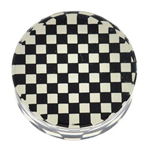 PMMA Mega Silhouette Flesh Plug - Checkerboard - 26 Mm Checkerboard