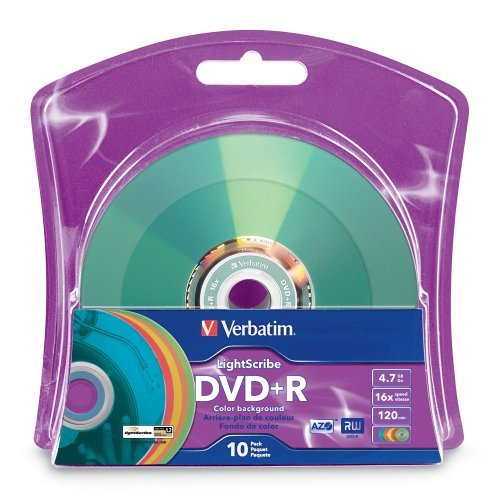 Verbatim 16x DVD+R LightScribe Assorted Color Blank Media, 4.7GB/120min - 10 Pack (96941)