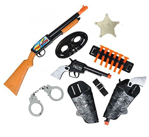 Play Kreative 8 PC Western Toy Cowboy Gun & Holster Set Includes Pump Action Shotgun, Two Pistols with Holsters, Handcuffs, Suction Cup Darts, Mask, Badge and More TM