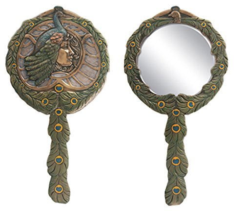 Beautiful Cleopatra Peacock Countess Bronzed Patina Hand Mirror Art Nouveau - Countess Mirror
