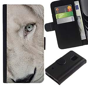 Billetera de Cuero Caso Titular de la tarjeta Carcasa Funda para Samsung Galaxy S5 V SM-G900 / Lion Cub Puppy White Eye Muzzle / STRONG