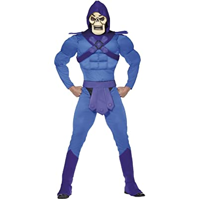 Mens Deluxe Skeletor Villain 80s Retro Cartoon Stag Do Night Party TV Halloween Fancy Dress Costume Outfit: Clothing