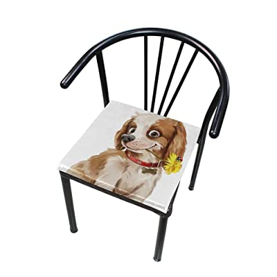 "Bardic HNTGHX Outdoor/Indoor Chair Cushion Dog Art Painting Square Memory Foam Seat Pads Cushion for Patio Dining, 16"" x 16"": Home & Kitchen"