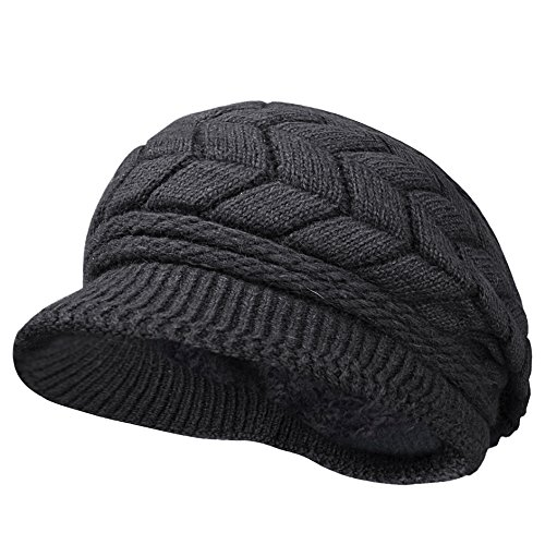 Odema Womens Knit Wool Hats with Visor Warm Skull Beanie Caps for Winter Black