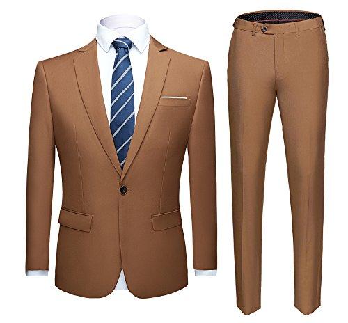 WULFUL Men's Suit One Button Slim Fit 2 Piece Suit for Men Casual/Formal/Wedding Party/Tuxedo (Khaki, 2XL)