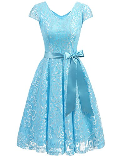 Cap Sleeve Embroidered Dress - Bridesmay Women's Short Bridesmaid Dresses Embroidered Floral Lace Dress with Cap Sleeve Blue L
