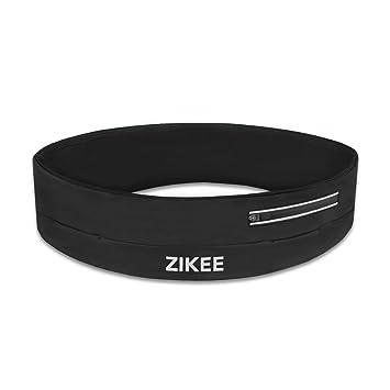 Cinta Zikee, riñonera, ejercicios bolsa, cangurera para deportes hombres y mujeres, para iphone 6/6S Plus, estirable y multi-acceso abertura bolsillo, apto para deporte, footing, ciclismo - negro