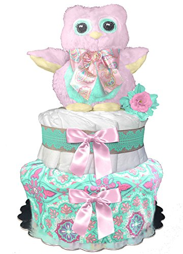 Owl Diaper Cake for a Girl - Baby Shower Centerpiece - Newborn Gift - Mint and Pink from Sunshine Gift Baskets