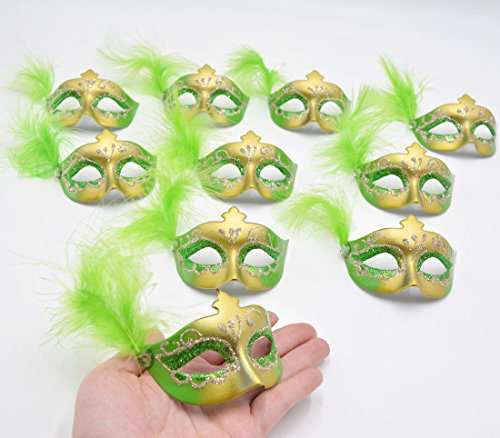 Cute Masquerade Masks (Yiseng Cute Mini Masks 12pcs Set Venetian Masquerade Party Decoration Novelty Gifts (green feather aside))