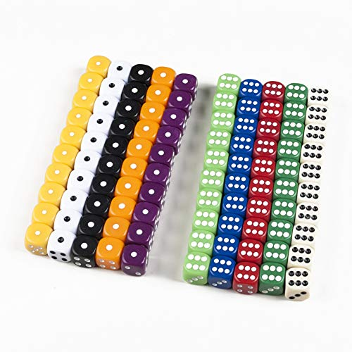 6-Sided Dice Games Set - 100 Pieces Multi-Color Dices Come ...