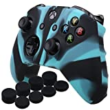 YoRHa Silicone Cover Skin Case for Microsoft Xbox One X & Xbox One S controller x 1(black blue) With Pro thumb grips 8 pieces For Sale