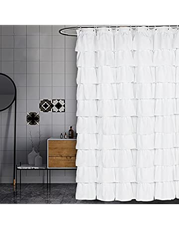 Charmant Volens White Shower Curtain Fabric/Ruffle For Bathroom,72in Long