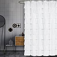 Volens 72in Long White Shower Curtain Fabric/Ruffle for Bathroom