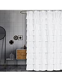 Volens White Shower Curtain Fabric Ruffle For Bathroom72in Long