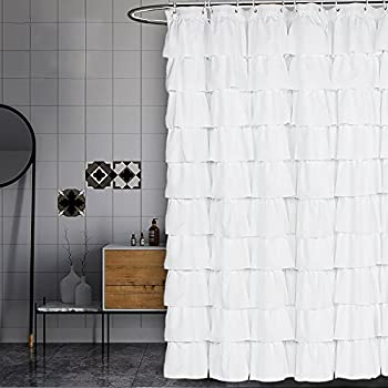 white shower curtain. Volens White Shower Curtain Fabric/Ruffle For Bathroom,72in Long L