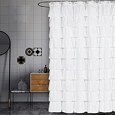 Volens White Shower Curtain Fabric/Ruffle for Bathroom,72in Long - KEEP PRIVACY: Quality white curtain with a tiered design, opaque, difficult to see through, provides a good layer of privacy during bath time LONG shower curtain: Measures 71in wide by 71in long to fit most tub/shower areas, prevent water from splashing on the ground and keeping the ground dry. Quick-Drying polyester fabric: Anti-wrinkle, Heat-resistant, non-fading, even if the curtain is kept in the bathroom for long - shower-curtains, bathroom-linens, bathroom - 51xZtf7QvVL. SS400  -