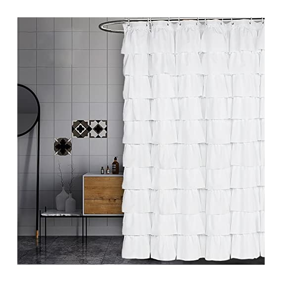 Volens White Shower Curtain Fabric/Ruffle for Bathroom,72in Long - KEEP PRIVACY: Quality white curtain with a tiered design, opaque, difficult to see through, provides a good layer of privacy during bath time LONG shower curtain: Measures 71in wide by 71in long to fit most tub/shower areas, prevent water from splashing on the ground and keeping the ground dry. Quick-Drying polyester fabric: Anti-wrinkle, Heat-resistant, non-fading, even if the curtain is kept in the bathroom for long - shower-curtains, bathroom-linens, bathroom - 51xZtf7QvVL. SS570  -
