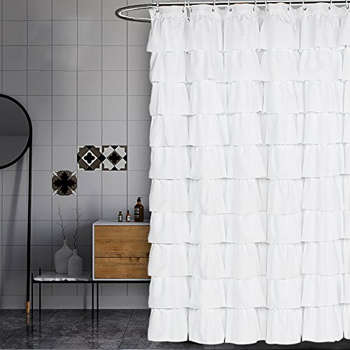 Volens White Shower Curtain Fabric/Ruffle for Bathroom,72in Long (Curtain White Shower)