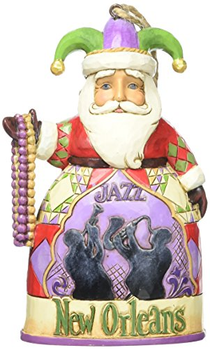 Jim Shore Heartwood Creek New Orleans Santa Stone Resin Hanging Ornament, 4.5""