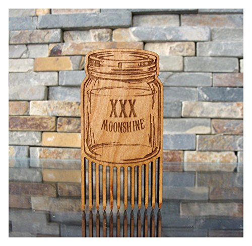 Moonshine Jar Wood Beard Comb by L.I.M. Lazer