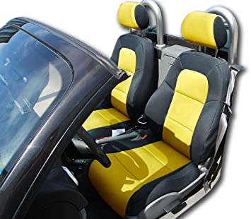 CHEVY SILVERADO 2014-2019 BLACK//YELLOW IGGEE S.LEATHER CUSTOM FRONT SEAT COVER