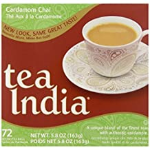Tea India Round Tea Bags, Cardamom Chai, 72 Count (Pack of 12) by Tea India