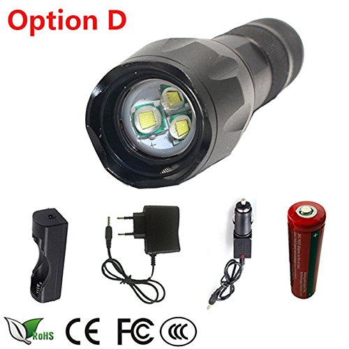Super Bright 5000LM AAA//18650 Zoomable Focus LED Flashlight Torch Hunting Lamp